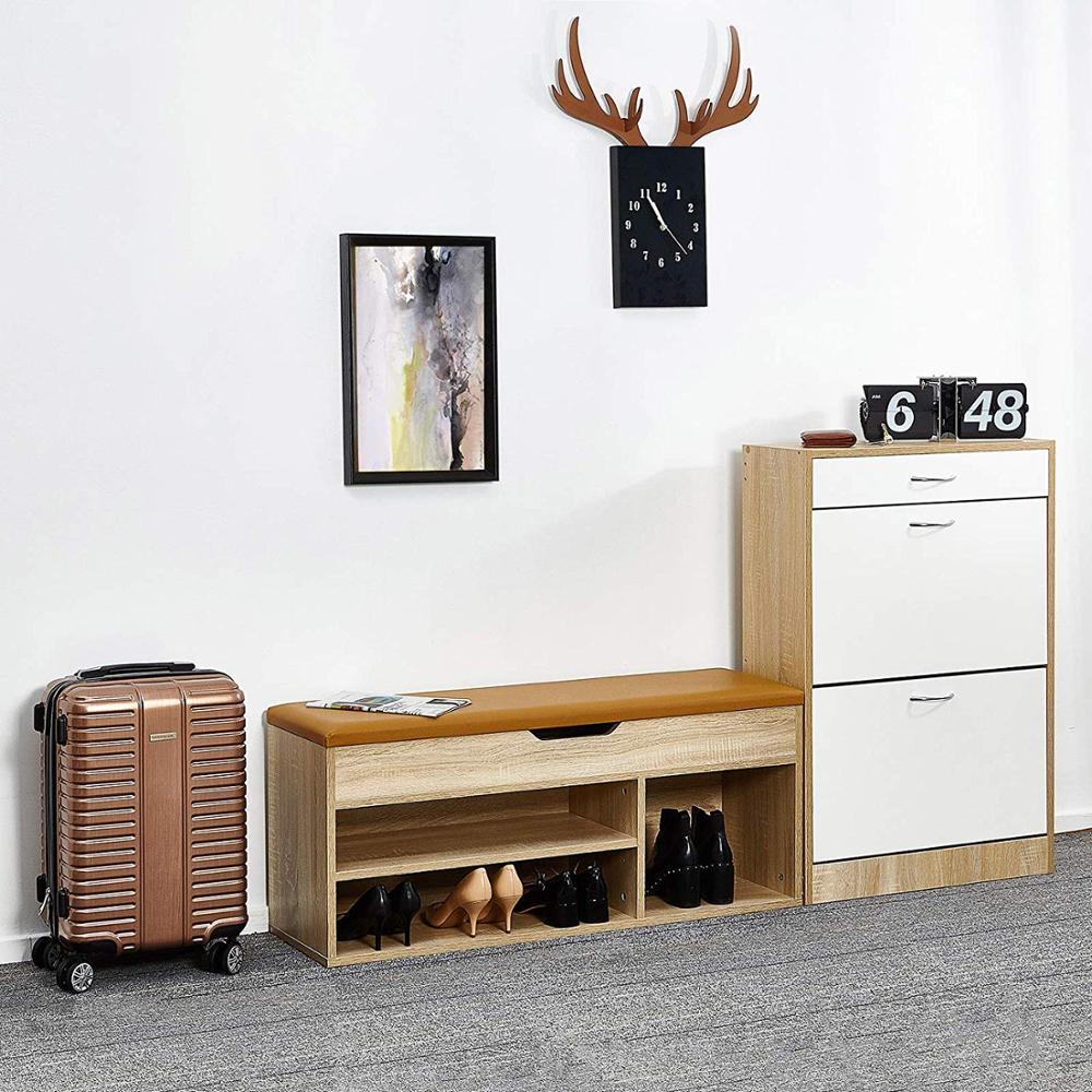 Shoe Boxes Shoe Rack Bench Wood Cabinet Shoe Rack Door Shoes Organizer Storage Living Room Furniture 104 X 45 X 30 Cm