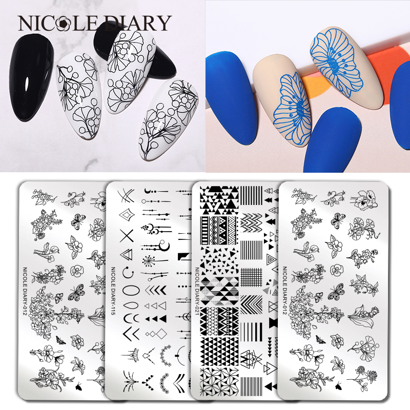 NICOLE DIARY Flower Geometry Nail Stamping Plates DIY Animal Leaves Image Stencil For Nails Polish Printing Templates Tools