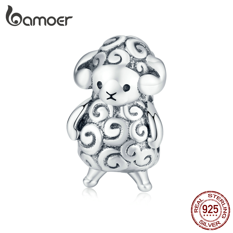 bamoer Authentic 925 Sterling Silver Baby Sheep Animal Metal Beads for Jewelry Making Silver Charm fit Original Bracelet BSC187(China)
