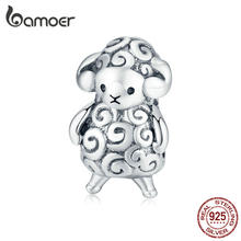 bamoer Authentic 925 Sterling Silver Baby Sheep Animal Metal Beads for Jewelry Making Silver Charm fit Original Bracelet BSC187