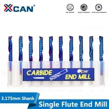 XCAN 10 adet 3.175 sap mavi kaplamalı tek flüt CNC Router Bit Tungsten karbür Spiral frezeler freze kesicisi/2/2 5/3.175mm