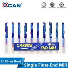 Xcan broca revestida de flauta única, broca de tungstênio 3.175 de haste, revestida azul, broca de carboneto de tungstênio 2/2.5/3.175mm mm