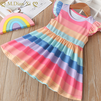 2019 Summer New Children's Dress Girls Sleeveless Cute Dress Color Matching Rainbow Striped Princess Dress Toddler Girl Dresses
