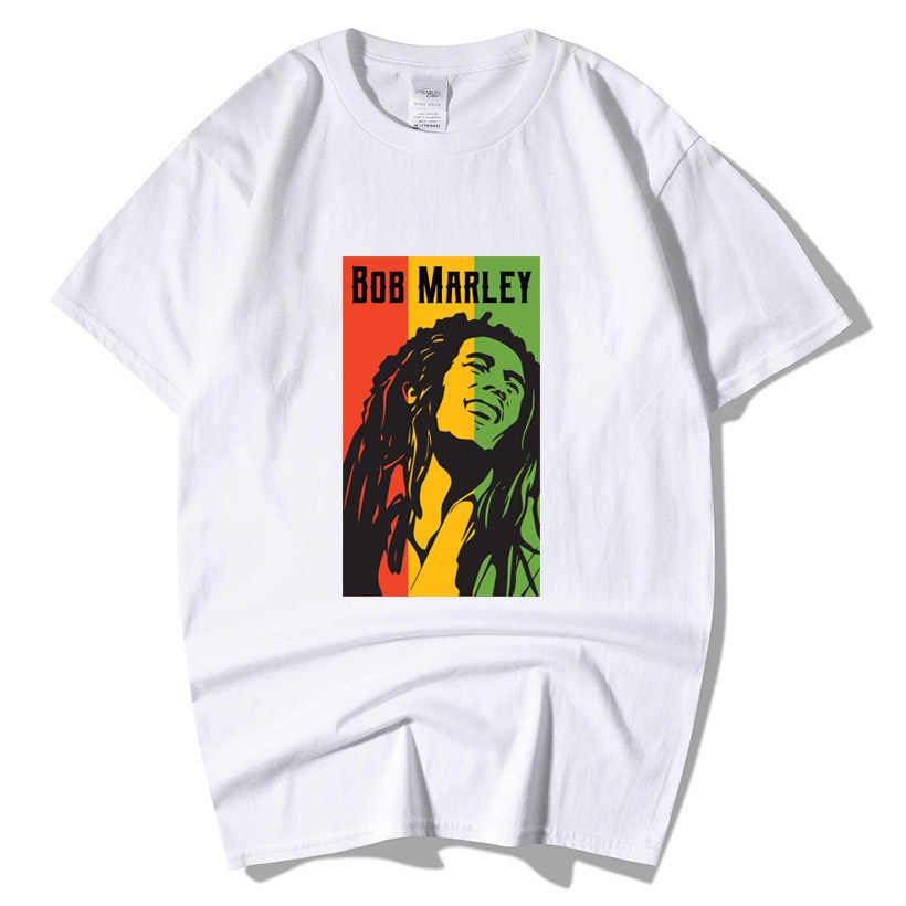 Bob Marley kaya Hip Hop T Shirt erkek erkek yaz artı boyutu Streetwear Casual kısa kollu pamuklu yuvarlak boyun Reggae yıldız T-Shirt