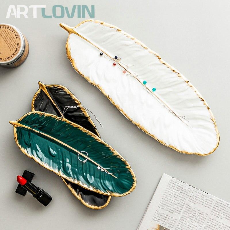 Набор керамических тарелок с золотым покрытием, модный дизайн с перьями, поднос для ювелирных изделий, столовые принадлежности, тарелка для фруктов приглушенной плотности, кухонная посуда-0