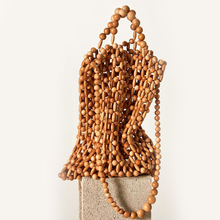 Women vintage wooden beads with beads woven portable fashion bag