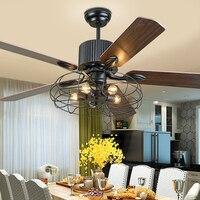 52 polegada retro ventilador de teto com ventiladores luz lâmpada folhas invisíveis controle remoto ferro quarto sala estar nordic decoração industrial