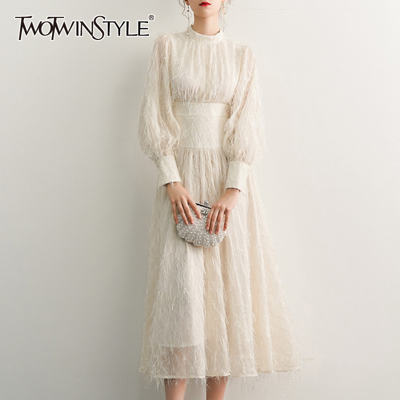 TWOTWINSTYLE White Elegant Tassel Dress For Women O Neck Lantern Long Sleeve High Waist Dresses Female Fashion Autumn 2020 New