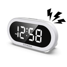Titirobaled Digital Jam Alarm Snooze Volume Adjustable Jam Di Samping Tempat Tidur dengan 5 Opsional Alarm Suara USB Pengisian Port Warna Putih(China)