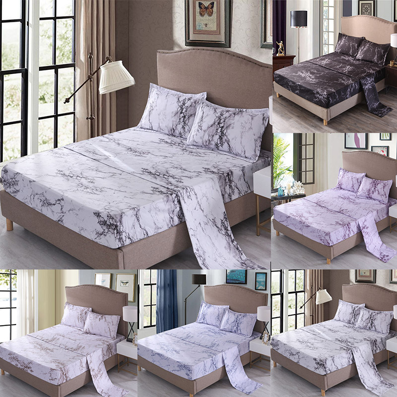 Marble Printed Bedding Set Flat Fitted Sheet  Pillowcase Sets 4 Pcs Twin Full Queen King Adult Nordic Black Grey Bed Cover 80079