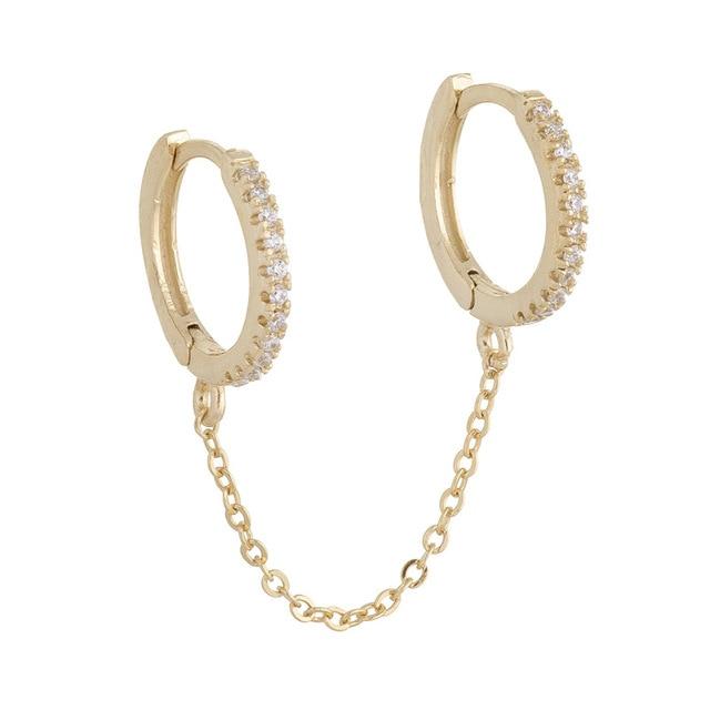 2021 venda quente dois furos piercing brincos para mulher brilhante cristal zircon 3 metal cor corrente brinco festa jóias 5