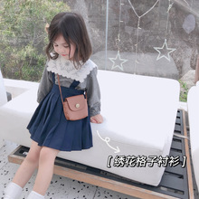 Shirt Clothing Long-Sleeve Embroidered Girl Children New Autumn Small-Grid