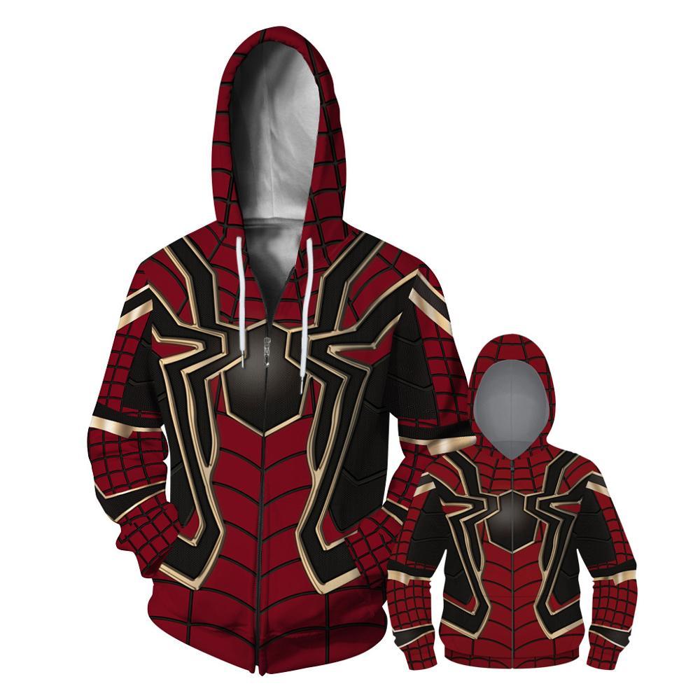 Best Selling Spiderman Dad Boys Jacket Digital Print Casual Zipper Boys Sweater Loose Hooded Baseball Uniform Parent-child Wear