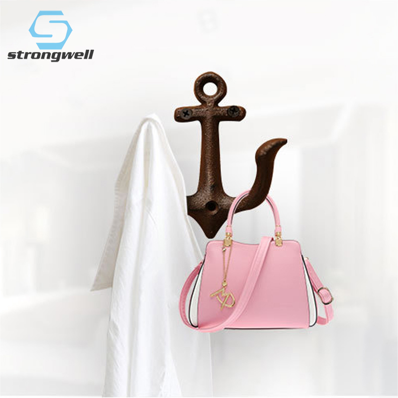 Strongwell Metal Anchor Rack Clothes Key Hat Towel Wall Hook Hanger Door Wall Mounted Crafted Classic Antique Cast Iron