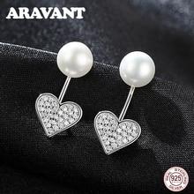 цена 925 Sterling Silver Heart Stud Earrings For Women Freshwater Pearl Earrings Pave Zircon Earring Sterling Silver Jewelry в интернет-магазинах