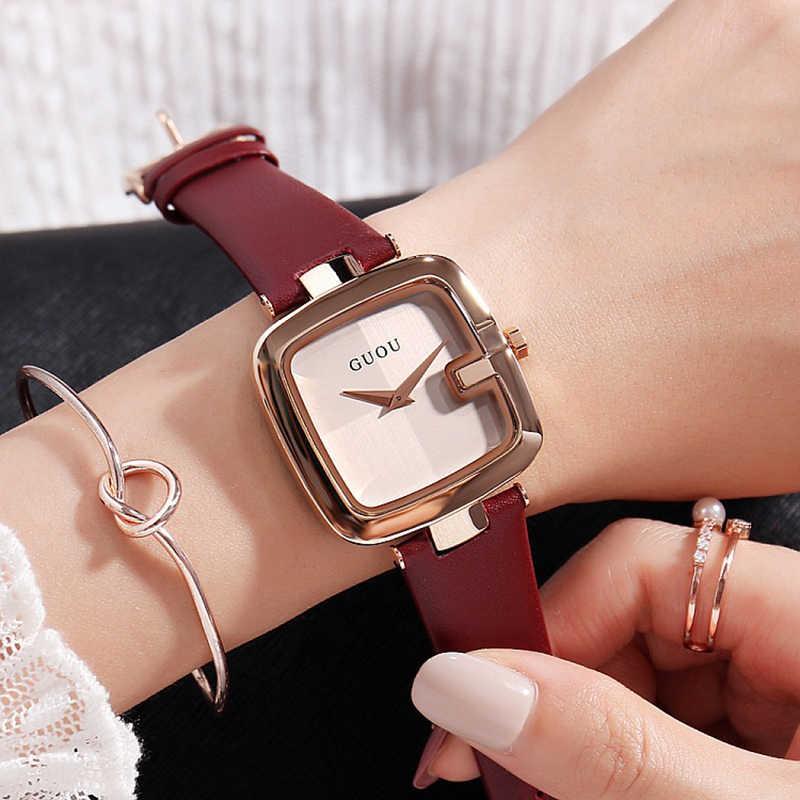 GUOU נשים של שעונים 2020 אופנה גבירותיי שעונים לנשים צמיד שעון נשים יוקרה Montre Femme כיכר שעון Saat