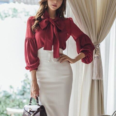 Spring Autumn Women Fashion Two-piece Slim Suit Female Bow Skirt Suit office lady Business  blouse sets Multan