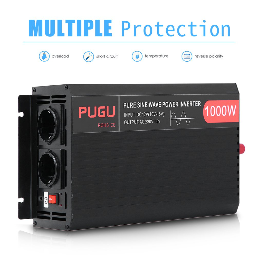 Reine Sinus Welle Power <font><b>Inverter</b></font> 1000W 2000W Automobil <font><b>Inverter</b></font> <font><b>12V</b></font> Zu <font><b>230V</b></font> Auto Power Converter Spannung transformator EU Buchse image