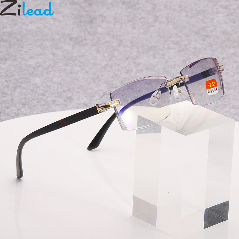 Zilead Frameless Anti Blue Light Finished Myopia Glasses Business Nearsighted Eyeglasses Shortsighted Eyewear0-1.0-1.5-4.0Unisex