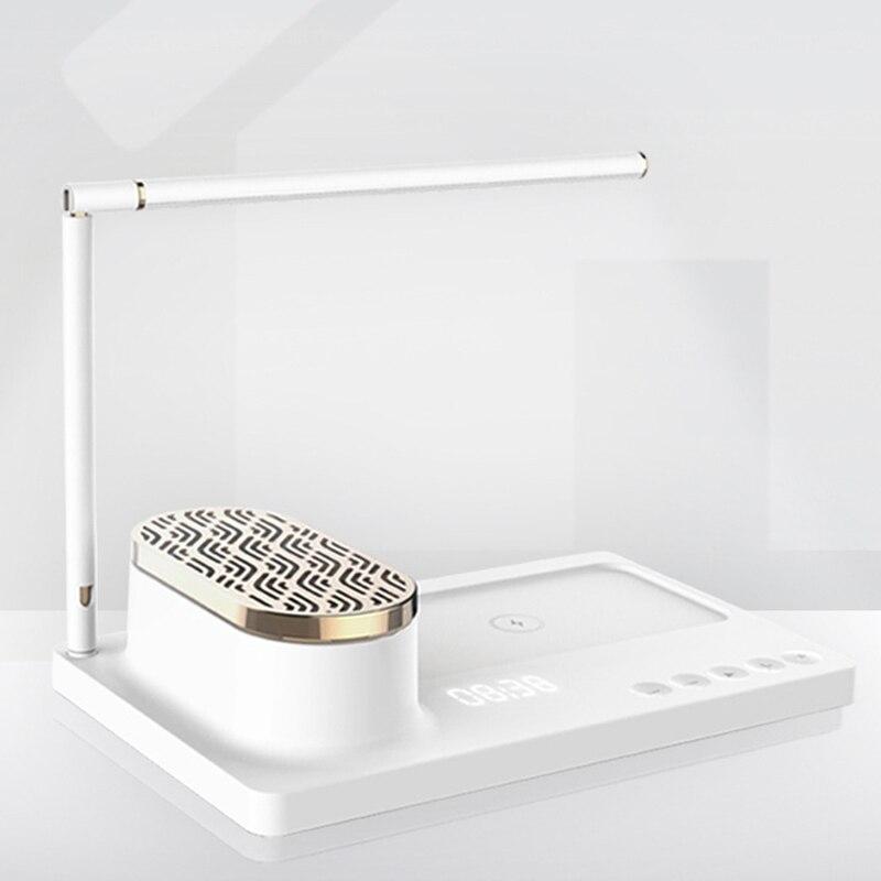 Nova lâmpada de mesa de áudio led casa inteligente beacon multi função lâmpada de mesa com carregador sem fio e alto falante bluetooth, suporte do telefone nos - 5