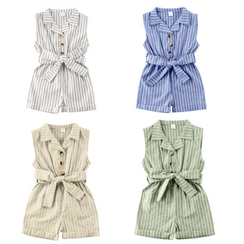 1-6Y Summer Toddler Baby Girls Rompers Overalls Striped Sleeveless Turn Down Button Jumpsuits Kids Party