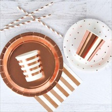 Rose Gold Stripe Disposable Paper Plates&Cup Wedding Birthday Decoration Baby Shower Festival For Kids Tableware Party Supplies