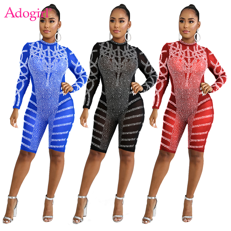 Adogirl Diamonds Sheer Mesh Women Sexy Playsuit O Neck Long Sleeve Knee Length Jumpsuit Night Club Party Overalls Fashion Romper