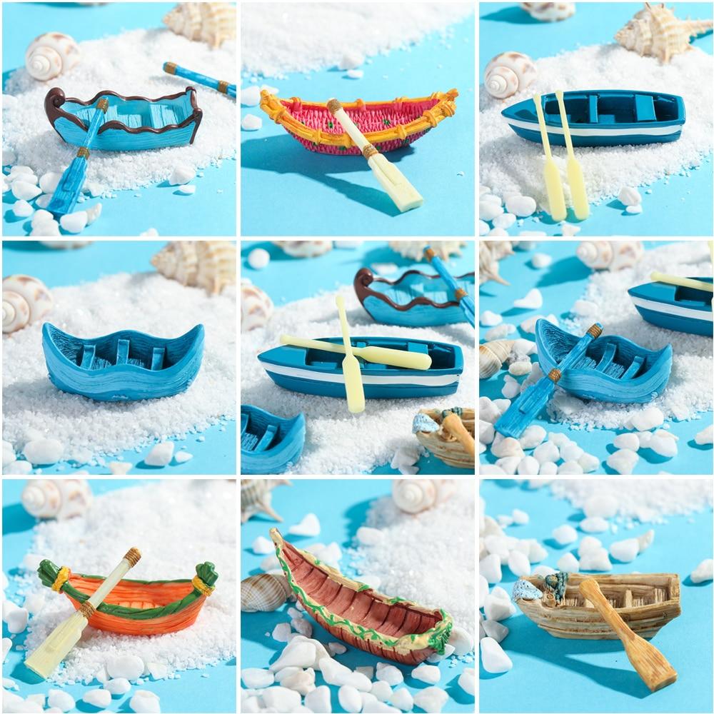 Искусственная маленькая лодка и весло, маленькое украшение, DIY материал, микро пейзаж, мясистые растения миниатюрная Статуэтка для сада