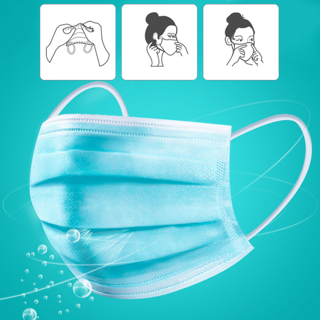 50Pcs/Pack Face Mask Nonwoven Disposable Face Masks PM2.5 Filter Anti Dust Respirator Soft Breathable Mouth Cover Flu Protect 2