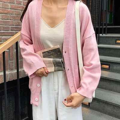 Donne coreane Sciolto Cardigan Doppia Tasca di Disegno Lavorato A Maglia Cardigan Femminile Maglione Giacca Autunno Inverno Con Scollo A V A Maniche Lunghe Cappotto