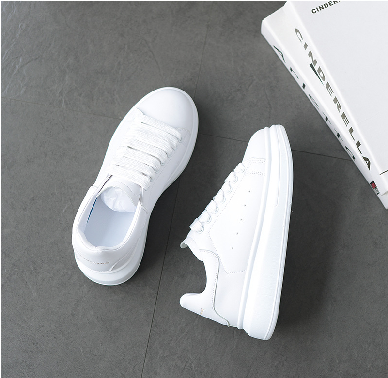 Hot Men's White Sneakers Women's Fashion Vulcanize Shoes size 36-44 High quality HIP HOP Shoes Platform Lace-up running Shoe
