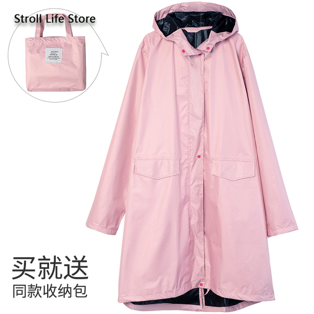 Pink Long Raincoat Women Jacket Hiking Travel Yellow Blocking Sunscreen Rain Coat Waterproof Rain Poncho Windbreaker Impermeable 3