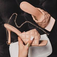wetkiss plus size 33 43 high quality 2018 genuine leather women slippers square low heel summer solid color mules women shoes Candy Color Slippers Outdoor High Heels Summer Square Head Peep-Toe Leather Women High Heel Mules Slippers White Black plus Size