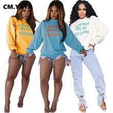 CM.YAYA Women Autumn Winter Letter Print Long Sleeve Sweatshirts Classic Activewear O-neck Pulllover Hoodies Tops
