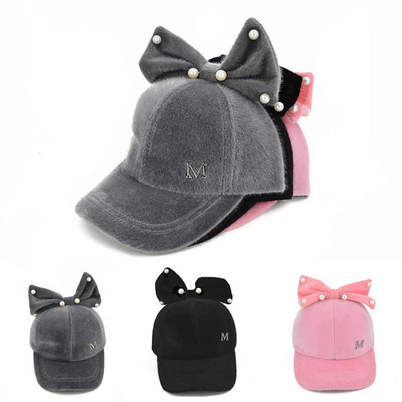 เด็กทารกฤดูหนาวหมวก Bows น่ารักเพิร์ลเด็กสาวหมวกเด็กสีเด็กหมวกเบสบอลหมวกเด็กวัยหัดเดินหมวก bonnet