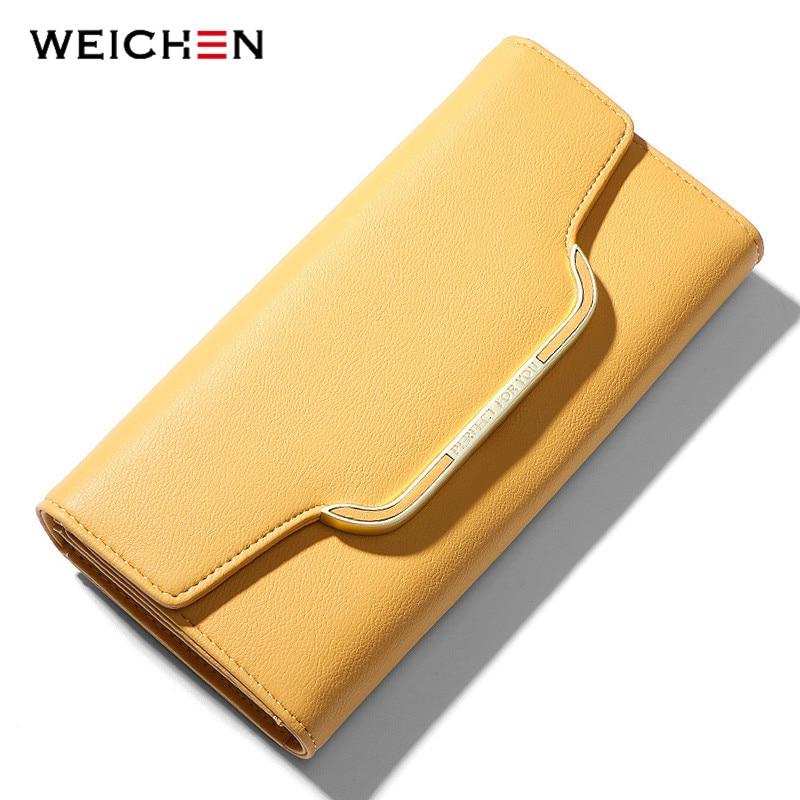 WEICHEN 2020 NEW Clutch Women Wallet Soft Leather Many Department Card Holder Phone Pocket Female Long Wallets Ladies Purse|Wallets|   - AliExpress