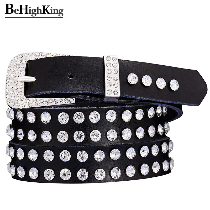 Fashion Genuine Leather Belts For Women Quality Shining Rhinestone Belt Female Narrow Cow Skin Pin Buckle Waistband Width 2.3 CM