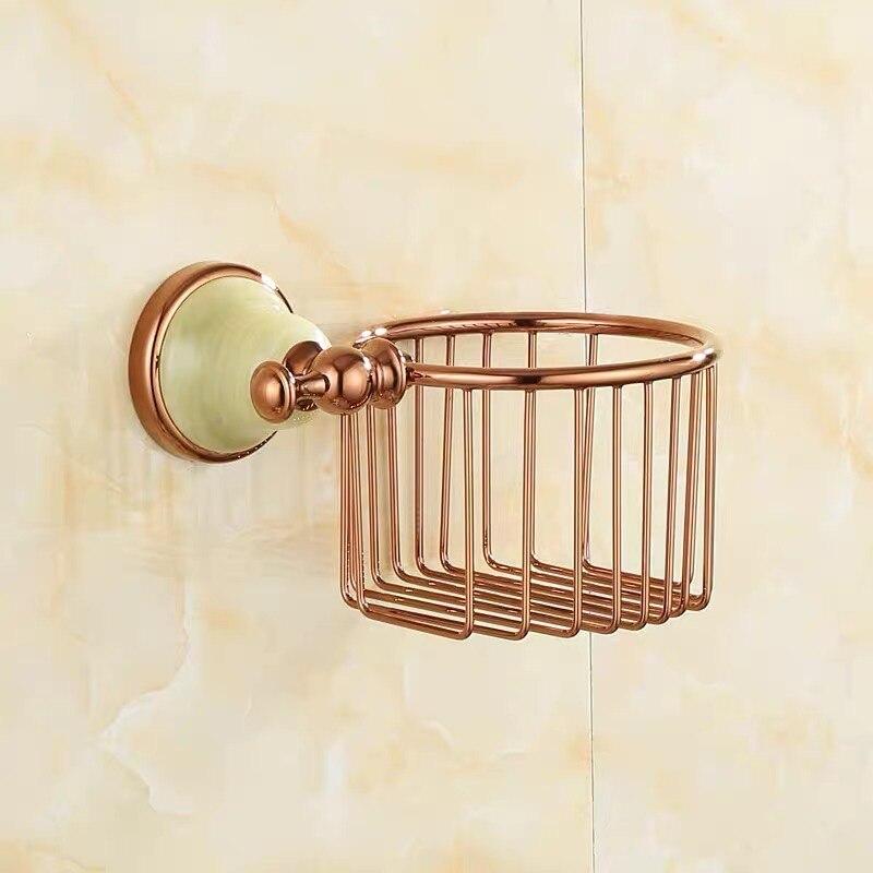 Полный медь% 2F латунь туалет салфетки бумага корзина роза золото круглый нефрит основание ванная органайзер настенный навесной