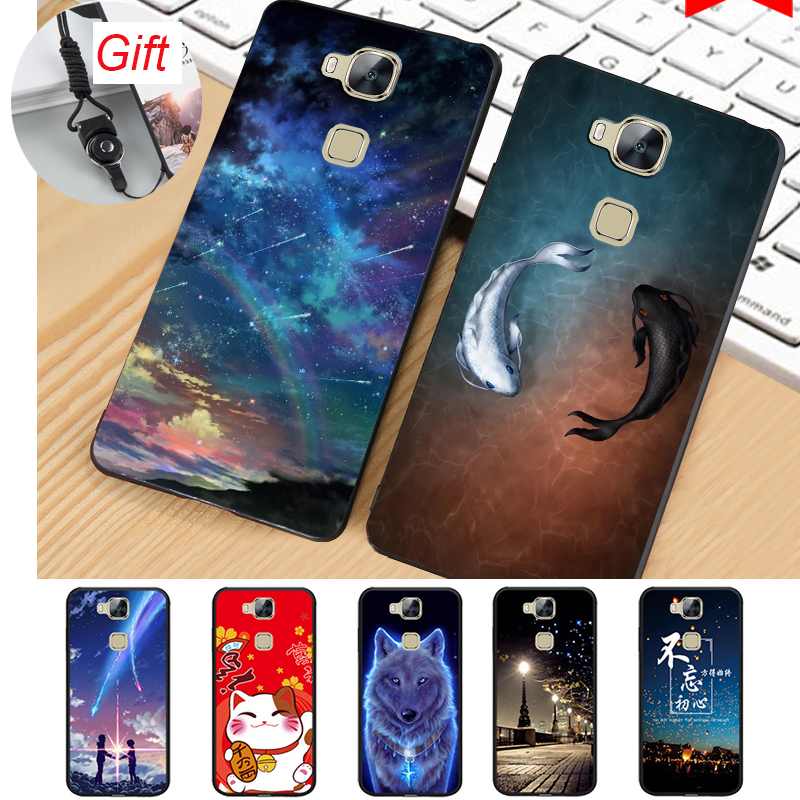 For Huawei G8 Case Silicon back Cover for Huawei G8 Phone Cases Soft Coque G8 case with Lanyard