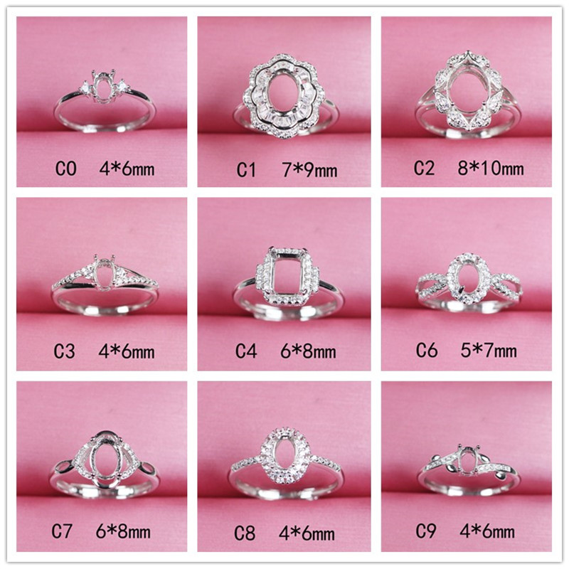 Oval Shape Adjustable Ring Base Silver 925 Diy Jewelry Making Gemstone Ring Setting Finding 4*6 Women Fashion C