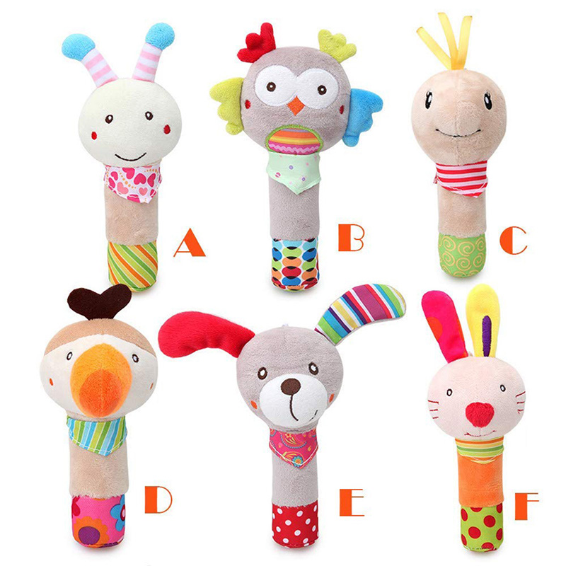 Cute Animal Baby Hand Bells Rattle Plush Baby Toys Dolls Children Animal Shaped Cartoon Hand Stick Rattles Baby Fun Toy