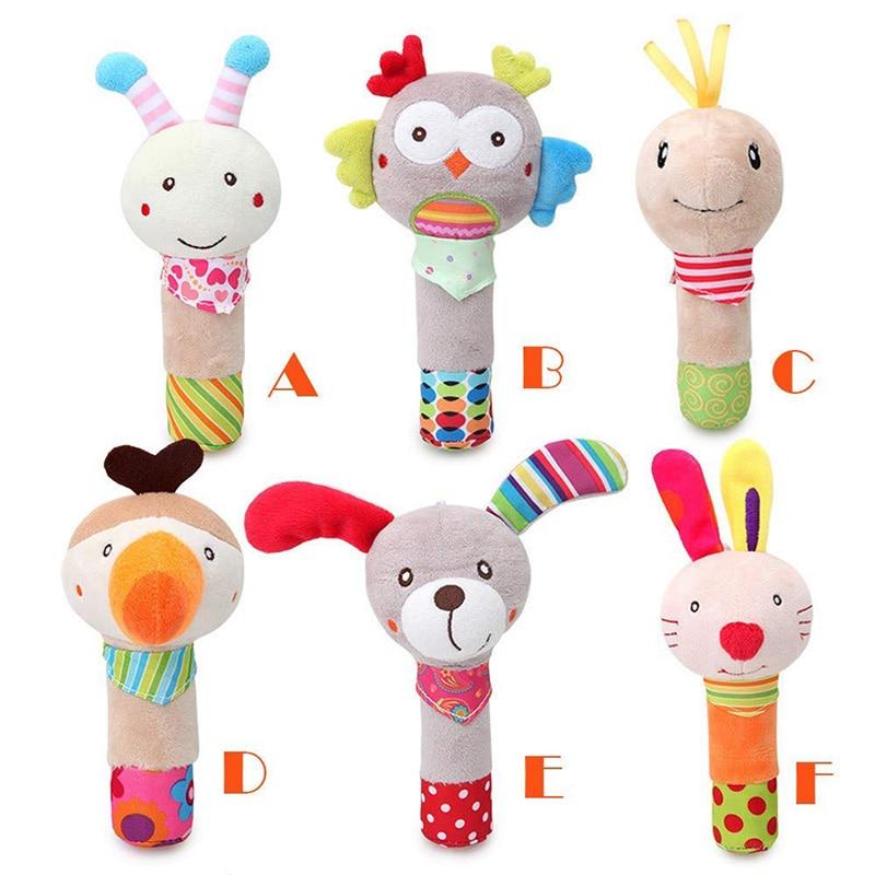 Cute Animal Baby Hand Bells Rattle Plush Baby Toys Dolls Children Animal Shaped Cartoon Hand Stick Rattles Baby Fun Toy