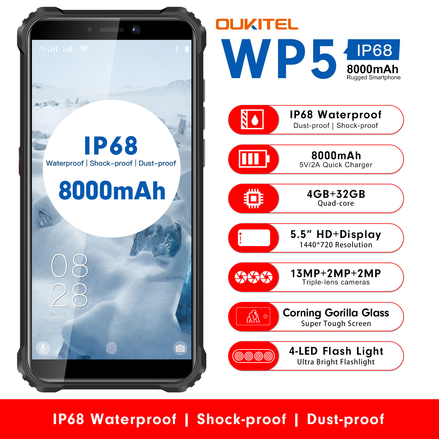 OUKITEL WP5 IP68 Waterproof 32GB 4gbb GSM/LTE/WCDMA Quick Charge 2.0 Gorilla Glass/bluetooth 5.0