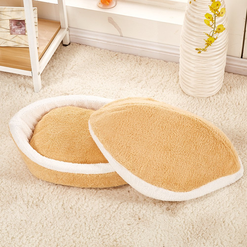 Fund Cute Hamburger Shaped Pet Cat Dog House Bed With Warm Plush Pad Detachable Washing Easily in Houses Kennels Pens from Home Garden