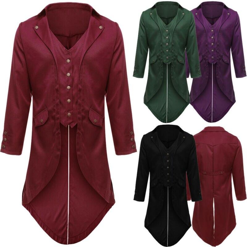 Autumn Men Women Vintage Victorian Swallow-tailed Jacket Tuxedo Banquet Coat 2019 Fashion Winter Long Sleeve Casual Coat Outwear