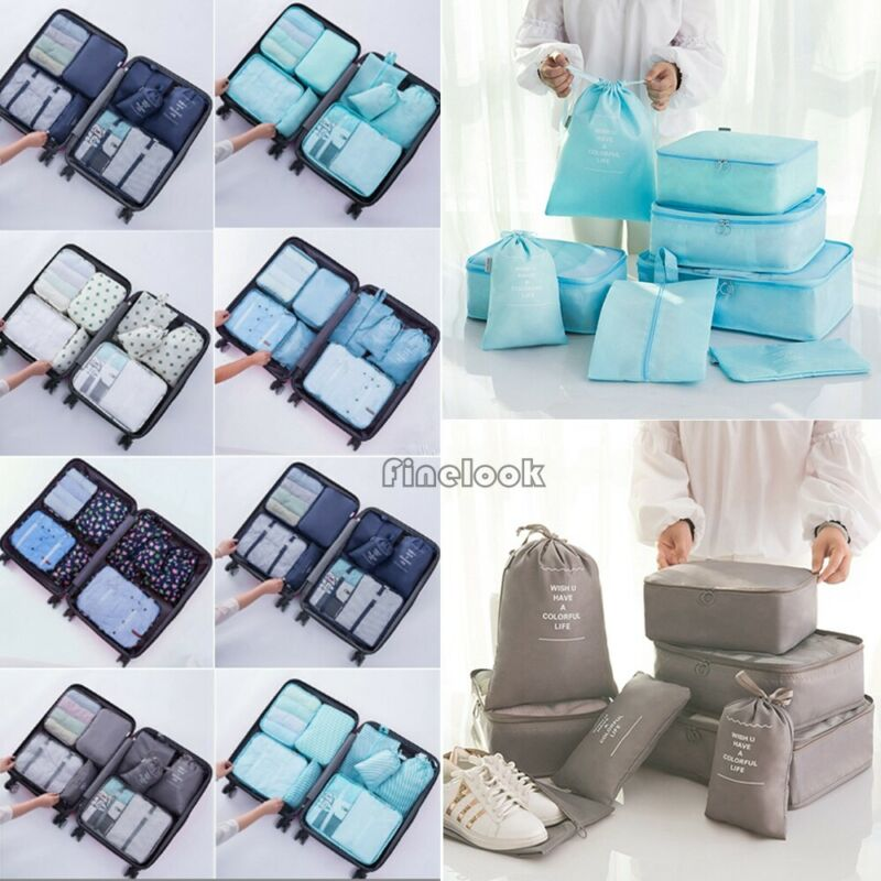 8Pcs Waterproof Clothes And Shoes Storage Bags Packing And Organizing Three-dimensional Luggage Storage Bags