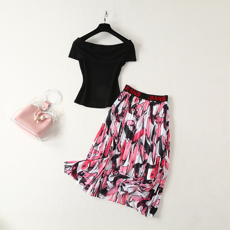2019 New Products What Spike Star Celebrity Style Gas Floral-Print Skirt + Off-shoulder Tops Two-Piece Set Fashion Skirt Set Sum