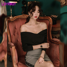 2019 autumn and winter new Korean fashion temperament was thin lapel one word shoulder bottom T-shirt top