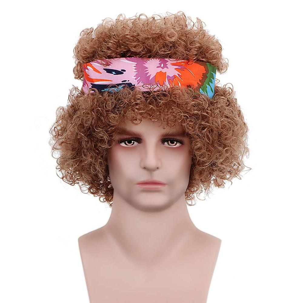 14'' Short Synthetic Curly Brown Hippy Men 60s 70s Fluffy Hippie Wigs With Headband For Party Woodstock Chick Costume Halloween
