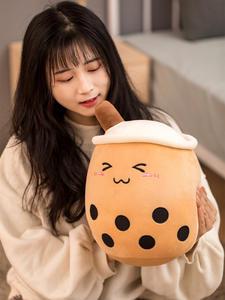 Shaped-Pillow Tea-Cup Back-Cushion Real-Life Boba-Food Bubble Stuffed Funny Soft Cute